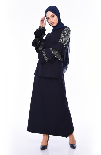 Bluz Etek İkili Takım 4128-06 Lacivert