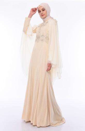 Stone Detail Evening Dress 5029-01 Cream 5029-01