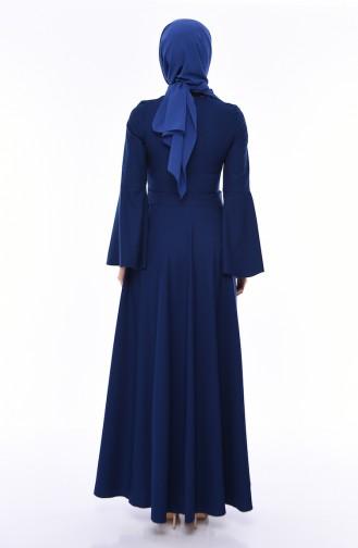 فستان بتصميم اكمام اسبانية مزين باللؤلؤ 81712-04 لون نيلي 81712-04
