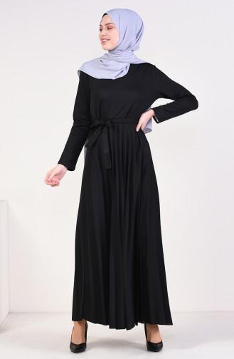 فستان بتصميم طيات و حزام للخصر 4026-01 لون اسود 4026-01