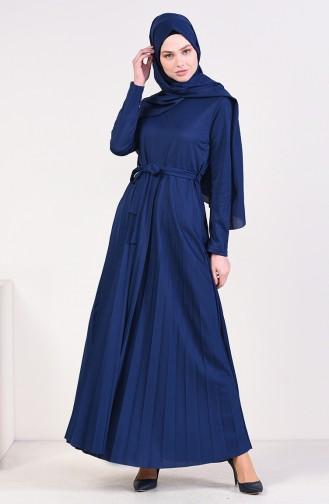فستان بتصميم طيات و حزام للخصر 4026-02 لون نيلي 4026-02
