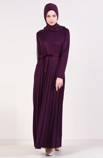 Piliseli Kuşaklı Elbise 4026-03 Mürdüm 4026-03