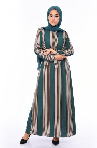 Çizgili Kuşaklı Elbise 1041-02 Zümrüt Yeşili Vizon 1041-02
