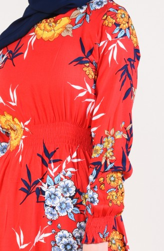 Patterned Dress 3858-01 Red 3858-01