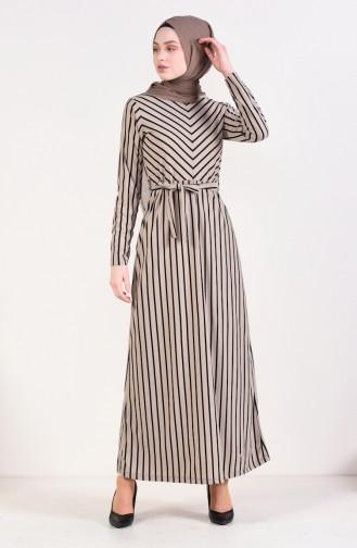 فستان بتصميم مخطط 4169-08 لون بني مائل للرمادي 4169-08
