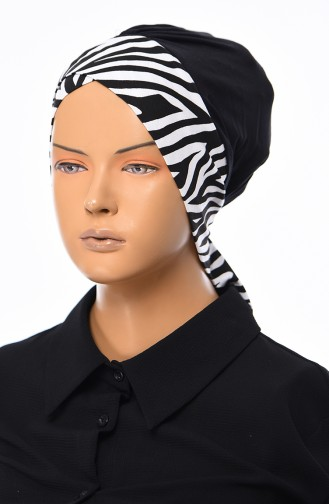 Comfortable Bonnet B0031-6-ZEBRA Black 0031-6-ZEBRA