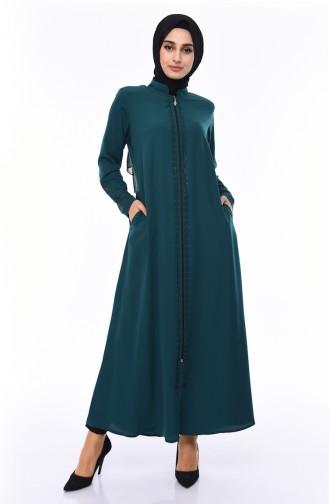 Large Size Stone Printed Abaya 0009-05 Emerald Green 0009-05