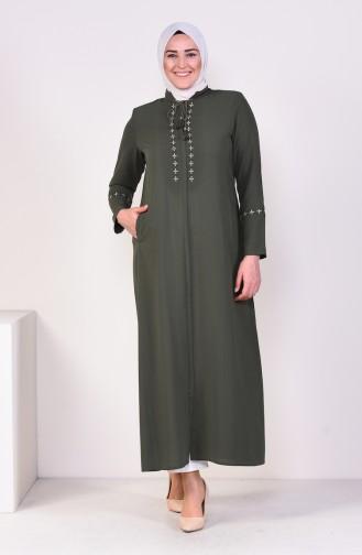Abaya Brodée Grande Taille 5926-04 Khaki 5926-04