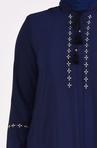 Abaya Brodée Grande Taille 5926-03 Bleu Marine Foncé 5926-03