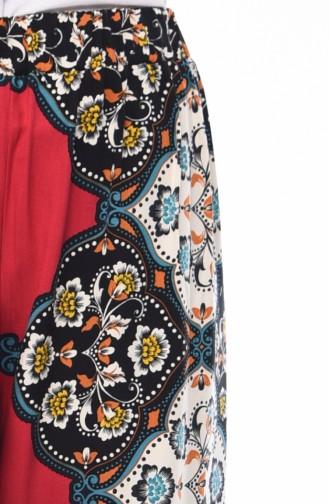 Desenli Yazlık Bol Paça Pantolon 1920-02 Siyah Bordo 1920-02