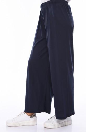 Lastikli Yazlık Pantolon 7990-03 Lacivert