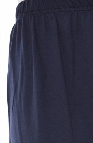 Sommerliche Hose mit Gummi 7990-03 Dunkelblau 7990-03
