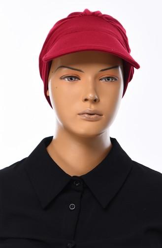 Cotton Cap Bonnet  B0030-3 Claret Red 0030-3