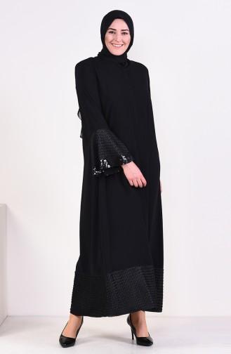 Large Size Sequin Detailed Zippered Abaya 7834-01 Black 7834-01