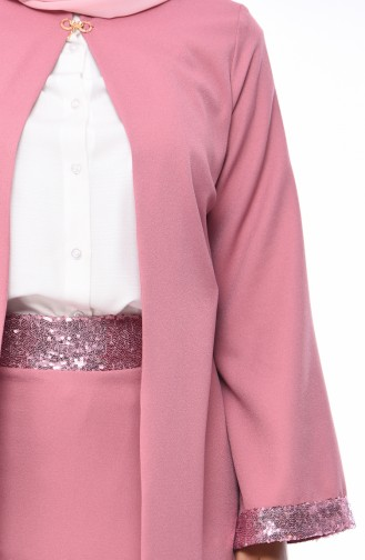 Sequin Detailed Jacket Skirt Double Suit 1520-01 Rose Dry 1520-01