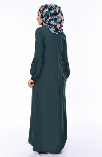 Robe Hijab Vert emeraude 1203-07