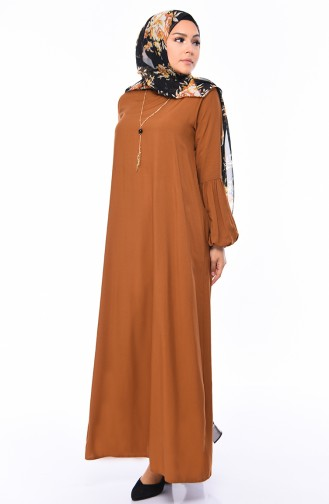 Viscose Sleeve Rubber Dress 1203-08 Tobacco 1203-08