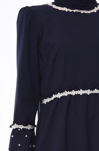 Büyük Beden İncili Elbise 0110-01 Lacivert