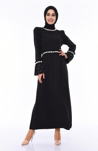 Büyük Beden İncili Elbise 0110-03 Siyah 0110-03