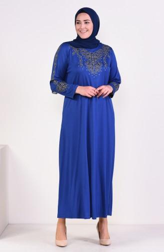 Büyük Beden Baskılı Elbise 4498-01 Açık Lacivert
