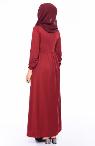 Boydan Düğmali Elbise 4032-02 Bordo 4032-02