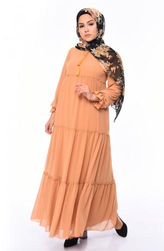 Chiffon Dress 18057-14 Mustard 18057-14