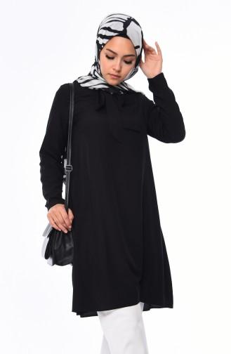 Tie Collar Tunic 1055-01 Black 1055-01