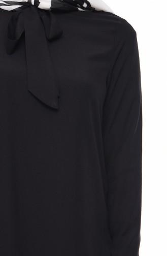 Krawatte Kragen Tunika 1055-01 Schwarz 1055-01