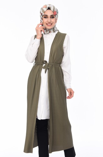 Pleated Long Vest 9037-01 Khaki 9037-01