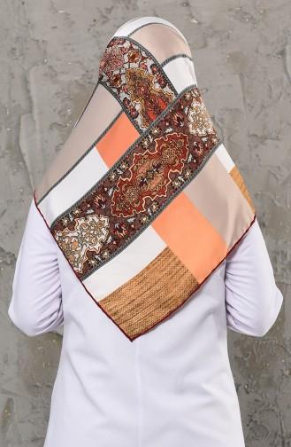 وشاح رايون بتصميم مُطبع 2256-06 لون بني فاتح مائل للرمادي 2256-06