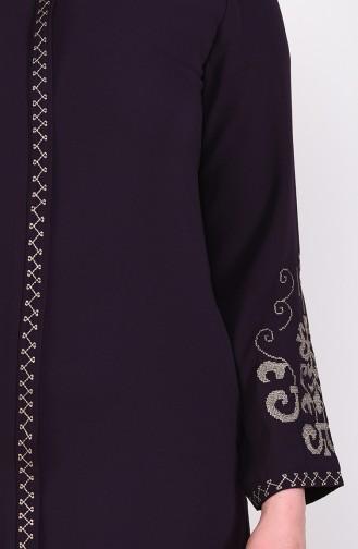 Embroidered Abaya 0001-05 Plum 0001-05