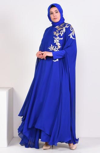 فستان سهرة بتفاصيل من الترتر بمقاسات كبيرة 1002-01 لون ازرق 1002-01