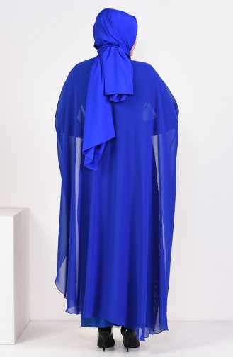 فستان بتصميم مُرصع بمقاسات كبيرة 1004-01لون أزرق فاتح 1004-01