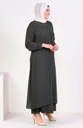 فساتين سهرة بتصميم اسلامي كاكي 6184-04
