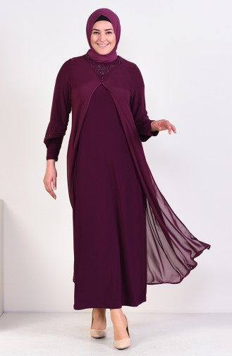 Plus Size Tassel Evening Dress 6184-05 drak Plum 6184-05