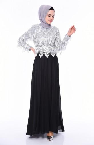 Payetli Abiye Elbise 1041-01 Gri Siyah 1041-01