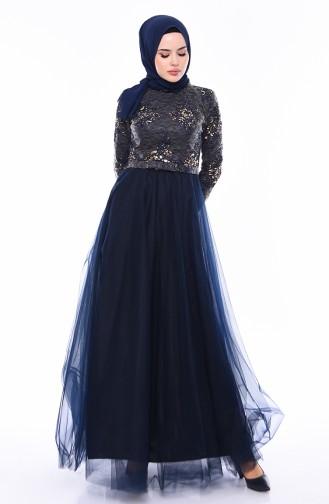 Sequined Evening Dress  4524-01 Navy Blue 4524-01