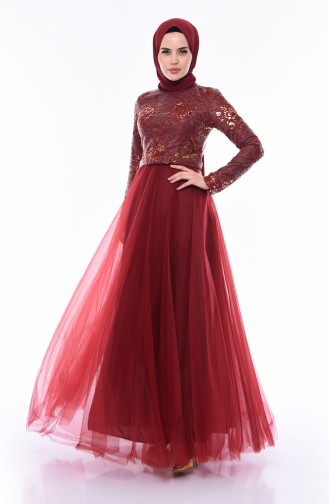 Sequined Evening Dress  4524-02 Claret Red 4524-02