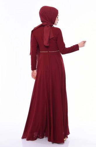 Stone Detail Evening Dress 4532-02 Claret Red 4532-02