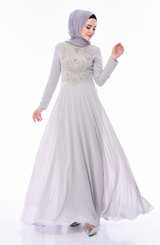 Stone Detail Evening Dress 4532-03 Gray 4532-03