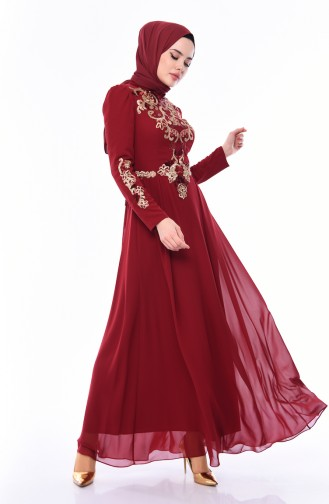 Sequined Evening Dress 4534-02 Claret Red 4534-02