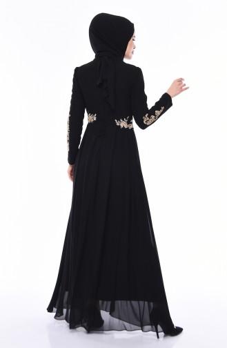 Payetli Abiye Elbise 4534-03 Siyah