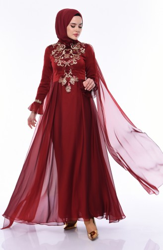 Sequined Evening Dress  4538-01 Claret Red 4538-01
