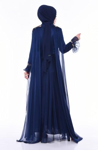 فستان سهرة بتفاصيل من الترتر اللامع  4538-05 لون كحلي 4538-05