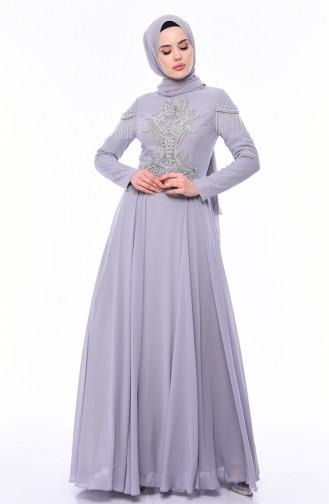 Stone Detail Evening Dress 4539-01 Gray 4539-01