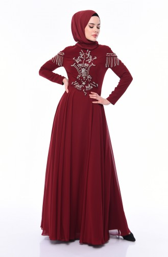Stone Detail Evening Dress 4539-03 Claret Red 4539-03