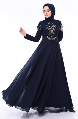 Stone Detail Evening Dress  4539-04 Navy Blue 4539-04