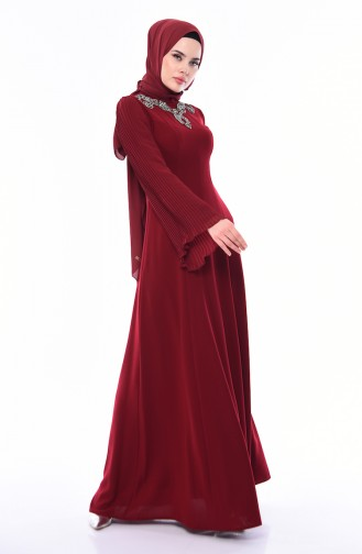 Stone Detail Evening Dress 4541-02 Claret Red 4541-02