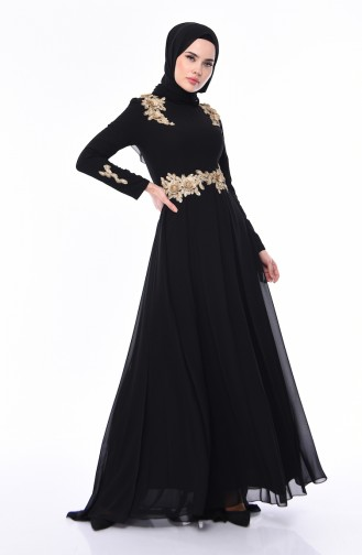 Lacy Chiffon Evening Dress 4546-02 Black 4546-02