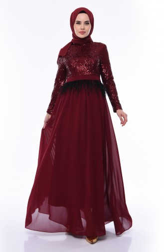 Sequined Evening Dress 0048-01 Claret Red 0048-01